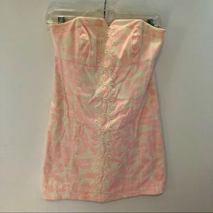 LILLY PULITZER Strapless Pink & White DRESS 0